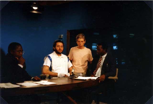 Kinshasa (Zaire) 24 Marzo 1991 Giorgio Bongiovanni ospite alla televisione Nazionale Zairese.