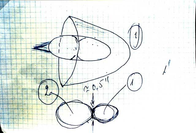 """Disegno che rappresenta l'avvistamento avuto dal Cosmonauta Kovalënok durante la missione spaziale con la navetta """"Soiuz 6"""" il 5 Maggio 1981."""