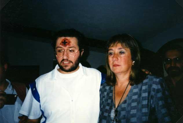 Uruguay Montevideo 31 Marzo 1996 Giorgio Bongiovanni con la Direttrice del Carcere Femminile Sig.ra Maria Lemos.